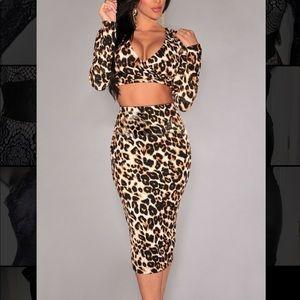 Two Piece Leopard Print Skirt Set
